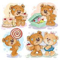 Teddy bears on the theme of love for sweets