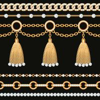 Set of golden metallic chain borders with gemstones and tassels
