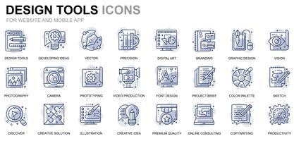 Set of Design Tools Line Icons for Website and Mobile Apps