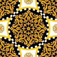Mandala redondo dorado ornamemtal con borde a cuadros