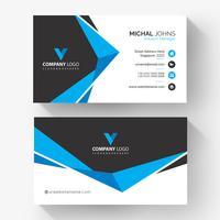 Elegante zwart blauwe geometrische bedrijfskaart