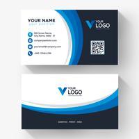 Blue black curve business card vector