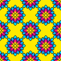 Colorful Pixel Art Flower Pattern