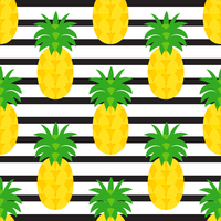 Pineapples On Black Striped Background