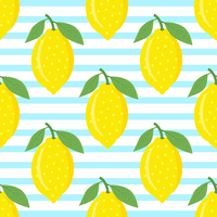 Lemons On Blue Striped Background
