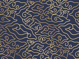 Megamendung Batik Gold Sketch Pattern vector