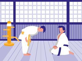 people practicing martials arts vector