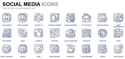 Social Media und Network Line Icons
