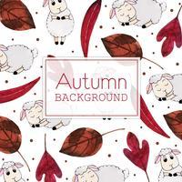 Rote Blätter und Schafe Schönes Aquarell Autumn Leaves und Schaf-Hintergrund