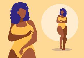 Afroamerikanska kvinnor som modellerar underkläder