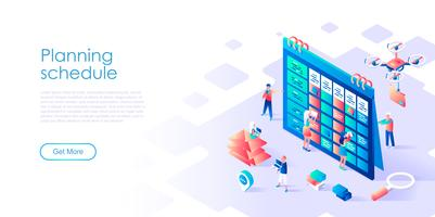 Isometric concept of Planning Schedule for banner and website