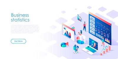 Concepto isométrico de estadística empresarial para banner y sitio web