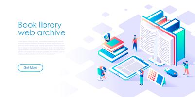 Isometric concept of Book Library for banner and website