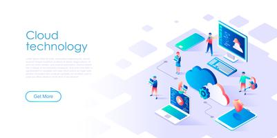 Isometric concept of Cloud Technology for banner and website