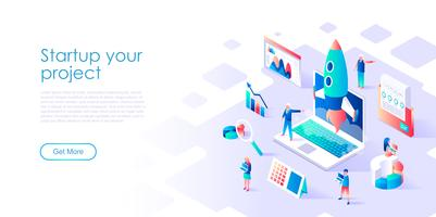 Isometric concept of Startup Your Project for banner and website
