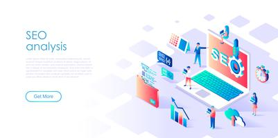 Isometric concept of SEO Analysis para banner e site
