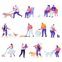 Conjunto de mascotas planas y animales domésticos