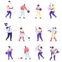 Insieme di persone piatte giocando a golf e personaggi di bowling
