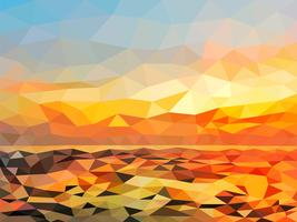 Orange twilight beach on polygon design