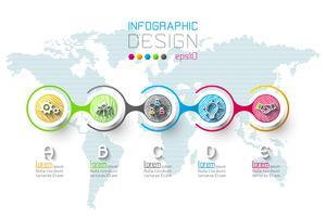 Infográfico de negócios com 5 passos