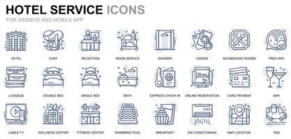 Icone della linea di servizi dell'hotel