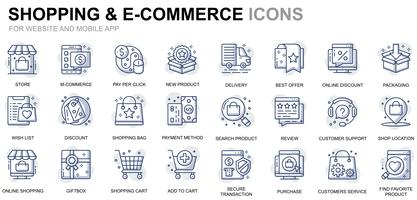 Shopping and E-Commerce Line Icons