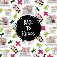 Pushpin and school watercolor Back To School Pattern Background