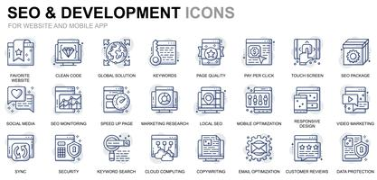 SEO and Development Line Icons