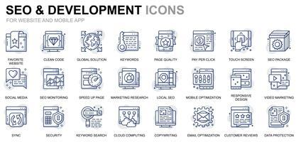 Iconos de línea de desarrollo y SEO