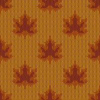 Autumn maple leaves knitted pattern