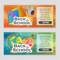 website banner with school objects