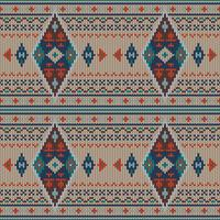 Geometric colorful ethnic knitted pattern