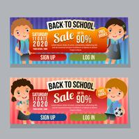 back to school sale horizontal banner with school kids