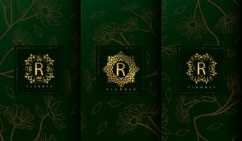 Set of luxury green package templates