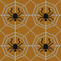 Seamless Knitting Texture with spider and web
