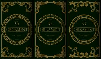 Set of luxury Golden and Green Package Templates
