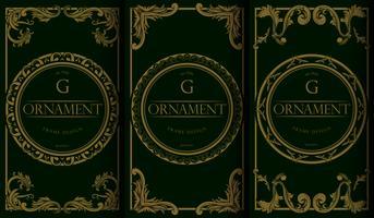Ensemble de modèles de paquet de luxe doré et vert