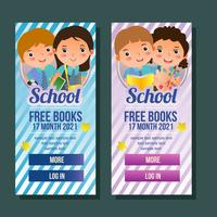 school vertical banner with kids