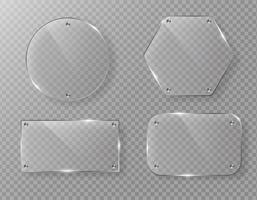 Etiqueta de marco de cristal de vector en blanco sobre fondo transparente.