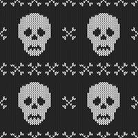 Seamless Knitting Texture with skull and bone