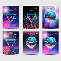 Cartel retro set estilo disco de los 80 vector