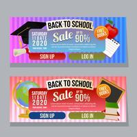 retour à la bannière de vente horizontale de l'école avec des éléments de l'école