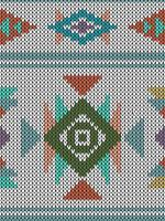 Geometric ethnic knitted pattern with triangles and diamonds vector
