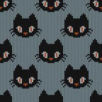 Seamless Knitting Texture with cute cat