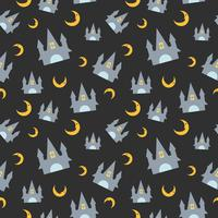Halloween seamless pattern with castle and moon