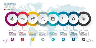 Zakelijke cirkel etiketten vorm infographic groepen bar