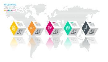 Las etiquetas hexagonales de negocios forman la barra de grupos de infografía