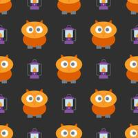 Halloween seamless pattern with cute owl and lantern