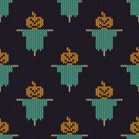 Seamless Knitting Texture with pumpkin scarecrow