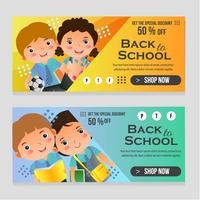 back to school web banner with school kids